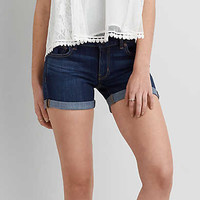 AEO Denim X4 Cuffed Midi Short, Black Wash