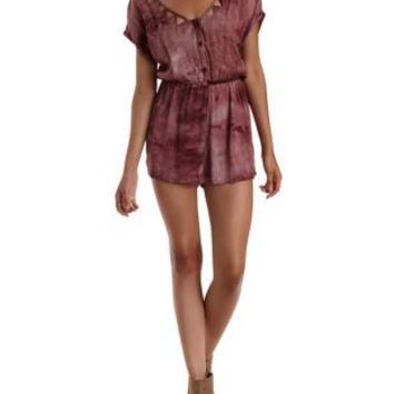 Cinnamon Cut-Out Button-Up Tie-Dye Romper by Charlotte Russe