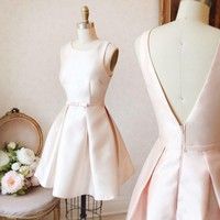 Creamy White Strapless Open Back Homecoming Dress