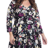 Plus Size Floral Printed Knit Fit and Flare Dress