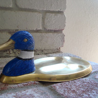 Vintage Hand Painted Blue Brass Duck Valet,  Mens Organizer Tray, Gift for Him, Retro