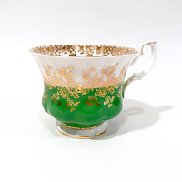 Royal Albert Tea Cup Green And White And Gold Lace Regal Series Mix & Match China Shabby Chic English China Porcelain Tea Cup Vintage 1970s