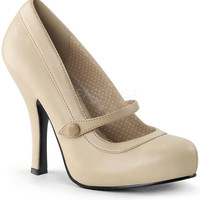 Pinup Couture Cutiepie Cream Pleather Baby Doll Pumps