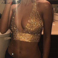 FestivalQueen sexy luxury cut out deep V neck tank top women 2018 new sequined summer shiny rhinestone metal backless crop tops