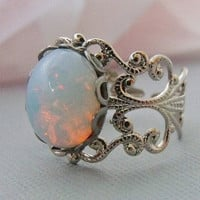White Glass Opal Ring by pinkingedgedesigns on Etsy