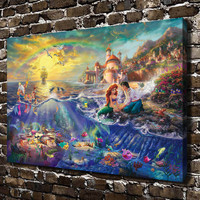 H1216 Thomas Kinkade The Little Mermaid, HD Canvas Print Home decoration Living Room bedroom Wall pictures Art painting