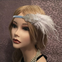 1920's light blue velvet flapper headband head piece headpiece band silver iridescent white ostrich fringe feather elastic 1920s (675