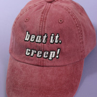 Beat It, Creep! Burgundy/Plum Washed Baseball Cap