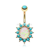 Golden Elegant Opal Turquoise Belly Button Ring (Turquoise/White)