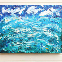 Original Large Modern Abstract Art Seascape Painting Blue Acrylic on Stretched Canvas Frame 24x18