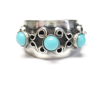 Mexican Sterling 3 Stone Turquoise Ring Size 5
