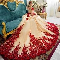 Marfoli Luxury Wedding Dresses 2018 With Flowers and Lace Ball Gown ElegentBridal Gown Real Photo Customize WD14107