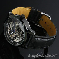 Men's wristwatches, Mechanical Watch Steampunk Black Partially Transparent Hollow Mickey Dial PU Leather Band Hand-winding Mechanical Watch