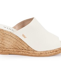 Massoni Canvas Espadrille Wedge Mules  - Ivory