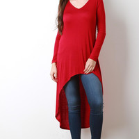 Jersey Knit High Low Vent Slit Top