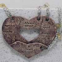 Friendship necklaces set of 4 puzzle pieces Heart with friendship quote Always together Aromatherapy Purple