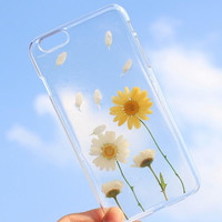 Daisy Floral Case 100% Handmade Dried Flowers Cover for iPhone 7 7Plus & iPhone 6 6s Plus + Gift Box B61