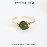 Green Jade Ring - unique rings - wire wrapped jewelry handmade - custom