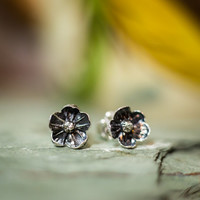 Little Silver Flower Stud Earrings, Cast Directly From Real Flowers