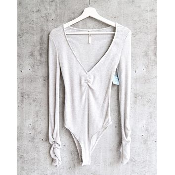 Free People - Cozy Up With Me Knitted Bodysuit - Pebble Grey