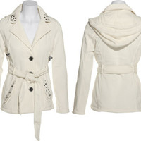 ASHLEY by 26 INTERNATIONAL Fleece Studded Hooded Coat