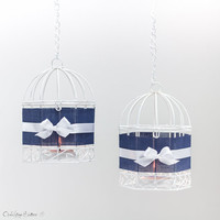 Navy Blue Wire Bird Cages Metal White with Silver Tealight Candle Holder - Nautical Beach Wedding Hanging Lanterns - Home Decor - Set of 2