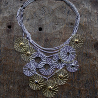 TIVOLI  Silver and Brass Wire Crocheted Necklace/ Lacy Circle Necklace/ Elegant Classy Necklace/ Statement Necklace/ Wire Crochet Jewelry