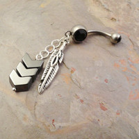 Chevron and Feather Dangle Belly Button Ring, Hematite Chevron, Black Crystal Barbell Piercing