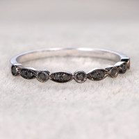 Natural Black Diamonds,Half Eternity Wedding Ring,14K White gold,Anniversary Ring,Art deco Marquise style,stacking,milgrain,Matching band