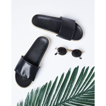 Kaila Leather Espadrille Slides