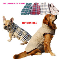 Glorious Kek Small to Large Dog Clothes Winter Warm Reversible Dog Jacket Plaid Dog Coat Windproof Pet Dog Clothes Elastic Belly