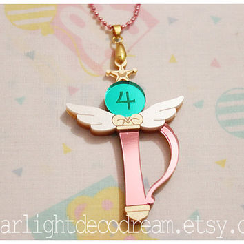 Sailor Jupiter Crystal Change Rod Sailor Moon Inspired Acrylic Necklace for Mahou Kei & Magical Girl