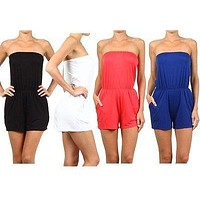 Casual Solid Strapless Clinched Waist Bodycon Short Romper Jumpsuit with Pockets