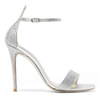 René Caovilla - Celebrita crystal-embellished metallic satin and leather sandals