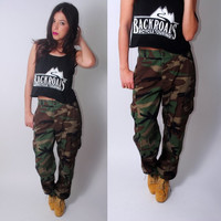 Vintage 80s 1990s authentic high waist military army camo cargo pants trousers ALL SIZES