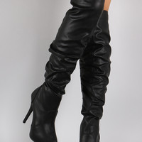 Almond Toe Slouchy Shaft Over-The-Knee Boots