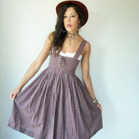 $68.00 Vintage 50's Plaid Lace Up Corset Bust Full Skirt by viralthreads