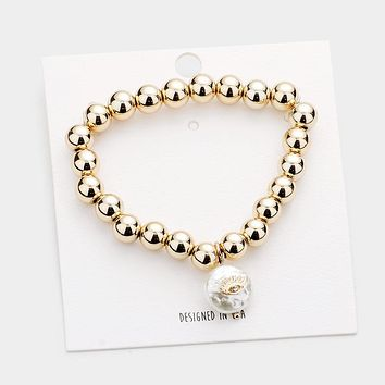Evil Eye Accented Round Pearl Charm Metal Ball Stretch Bracelet