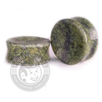 Green Serpentine Concave Stone Plugs