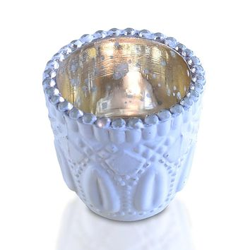 Faceted Vintage Mercury Glass Candle Holder (2.75-Inch, Lillian Design, Antique White) - For Use with Tea Lights - For Home Decor and Wedding Decorations