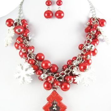 Red Christmas Tree Snowflake Charm Necklace & Earring Set