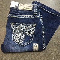 GRACE IN L.A. SNOW TRACKS BOOTCUT JEANS