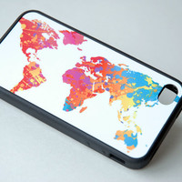 Colorful World Map Sketch Black Silicone Phone case, iPhone 6 Case, iPhone 6 Plus, 6+ Case, Samsung Galaxy S4, S5 Case