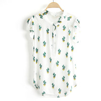 Cactus Plants Print Buds Sleeve Blouse