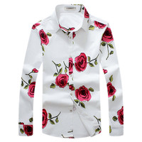 Plus Size Long Sleeves Flower Printing Cotton Dress Shirts for Men