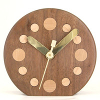 Handcrafted Walnut Desk Clock with Maple Numbers