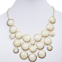 Hammered Metal Faceted Bubble Necklace   Wet Seal