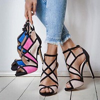 New color matching hollow sexy Korean nightclub super high heel sandals