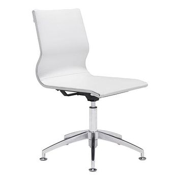 "Office Chair - 26"" X 26"" X 36"" White Leatherette Conference Chair"