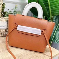 CELINE Fashion New Solid Color Leather Shopping Leisure Shoulder Bag Women Handbag Brown